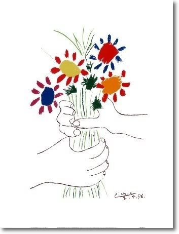 Hand with Bouquet by Picasso, UNFRAMED Art Print