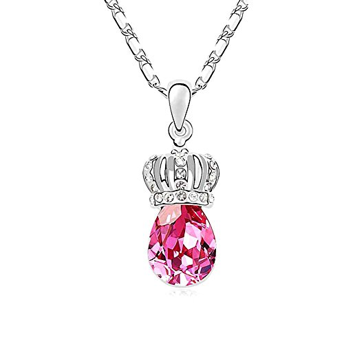 Silver Crystal Diamond Accent Princess Imperial Crown Pendant Chain Necklace for Women, with a Gift Box, Made with SWAROVSKI Crystal, Rose Red - Swarovski Crystal Crown Necklace