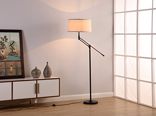 Brightech Ava LED Floor Lamp for Living Rooms - Standing Pole Light with Adjustable Arm - Office and Bedroom, Bright Reading Downlight with Drum Shade - Black by Brightech (Image #7)