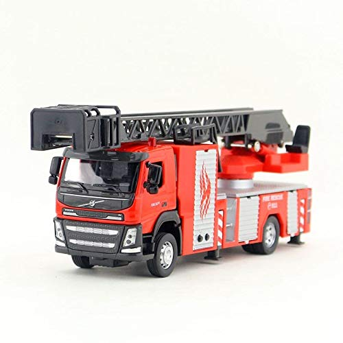Greensun 1:50 Scale/Diecast Model/Volvo Fire Engine Truck Car/Engineering Toy/Sound & Light/Educational Collection for Children/Gift