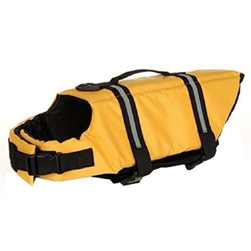 Egmy Pet Life Jacket Pet Products Outward Adjustable Doggy Life Vest with Rescue Handle (S, - Jacket Doggy Life Yellow