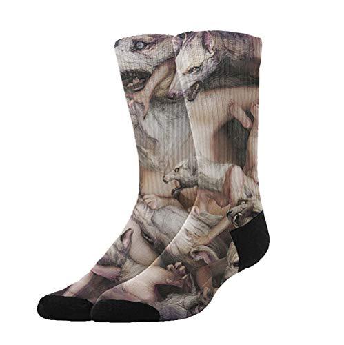 KYWYN Novelty Fashion Halloween Werewolves 3D Printed Athletic Socks Extra Long Socks Knee High Socks for Men Women Boys Girls Outdoor Activities -