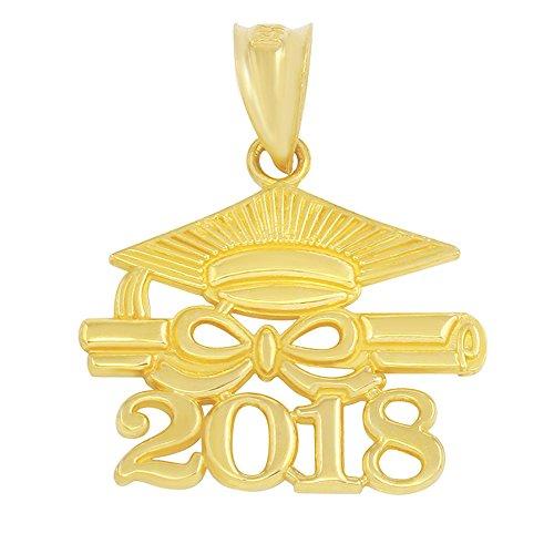 14k Gold Diploma Charm (14k Yellow Gold Diploma & Cap Charm 2018 Graduation Charm Pendant)