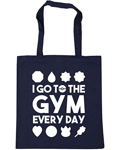HippoWarehouse I go zu dem Fitnessstudio jeden tag Einkaufstasche Fitnessstudio Strandtasche 42cm x38cm, 10 liter - Französische Marine, One size