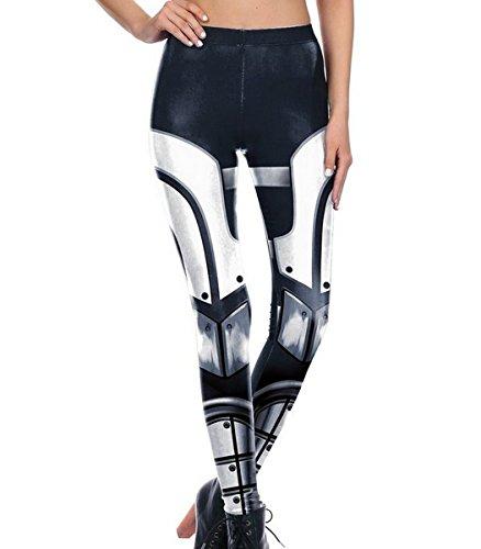 Mosszra Black Gun Shooter Digital Print Fashion Tight Long Pants Leggingss