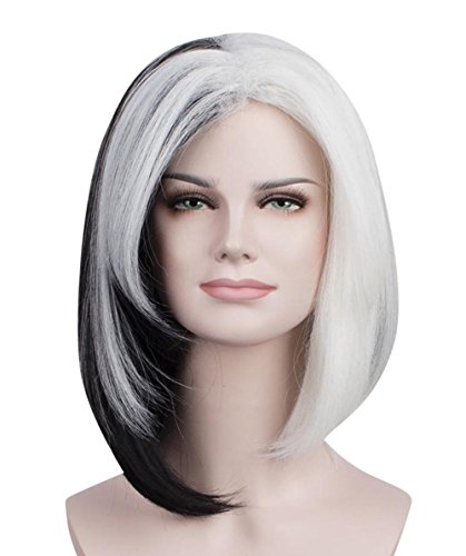 Halloween Party Online Ms. Spot Wig, Black & White Adult & Kids HW-1611 (Adult, Black & (Cruella Deville Childrens Costume)