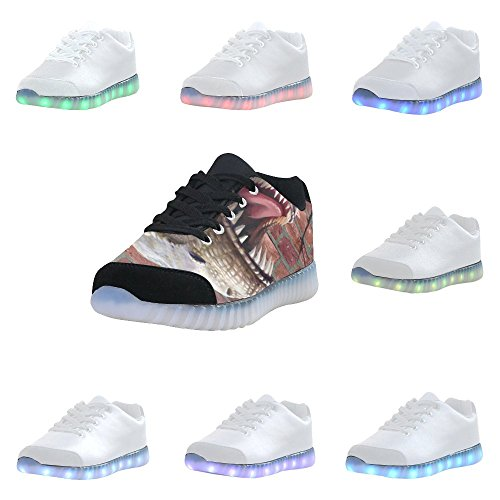 Interestprint Skull Light Up Shoes Sneakers Lampeggianti Scarpe Basse Casual Da Uomo Dinosauro Attraverso Il Muro Di Mattoni