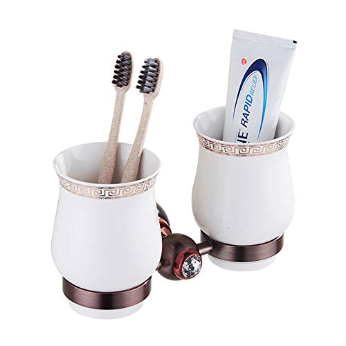 (ZH Shower Caddies Wall-Mounted Double Toothbrush Holder Cup Holder, Toothpaste Holder, with Two White Ceramic Tumbler, Solid Brass ZH59, 20×11 cm (Size : #1))