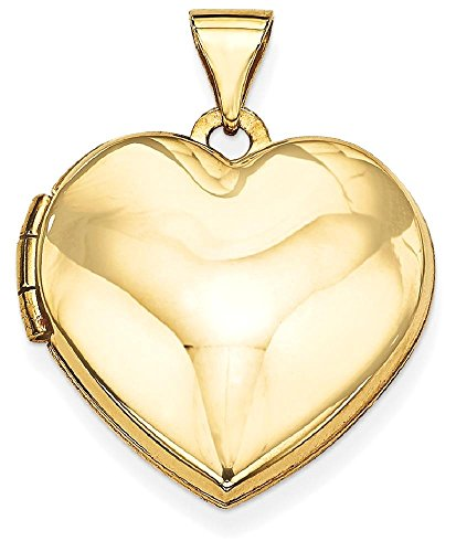 ICE CARATS 14k Yellow Gold Plain Heart Photo Pendant Charm Locket Chain Necklace That Holds Pictures by ICE CARATS