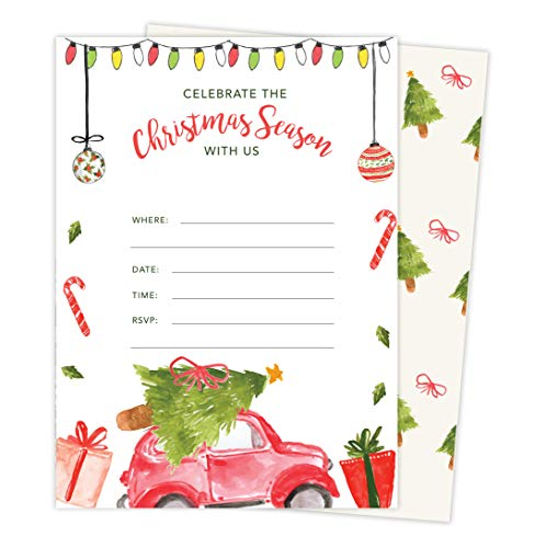Christmas Water Color #1 Holiday Season Party Gathering Invitations Invite Cards (25 Count) With Envelopes & Seal Stickers Vinyl Party (25ct) ()