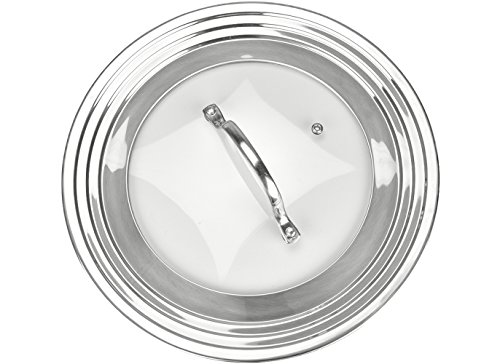 """Frying Pan Lids (Modern Innovations Elegant Stainless Steel and Glass Universal Lid, Fits All 7"""" to 12"""" Pots and Pans, Replacement Frying Pan Cover and Cookware Lids)"""