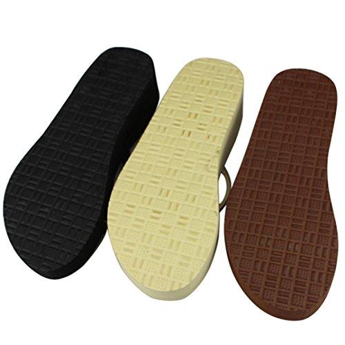 Transer® Beige Sandaler Sko Kvinner Uformell Wedge Damene Flat Sommer Tøfler Strand Flops Komfortable SxArgS