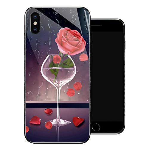 (iPhone X Case, Golden Cup Red Rose iPhone Xs Cases for Girls,Tempered Glass Pattern Design Back Cover [Shock Absorption] Soft TPU Bumper Frame Support Case for iPhone X/XS Aestheticism)