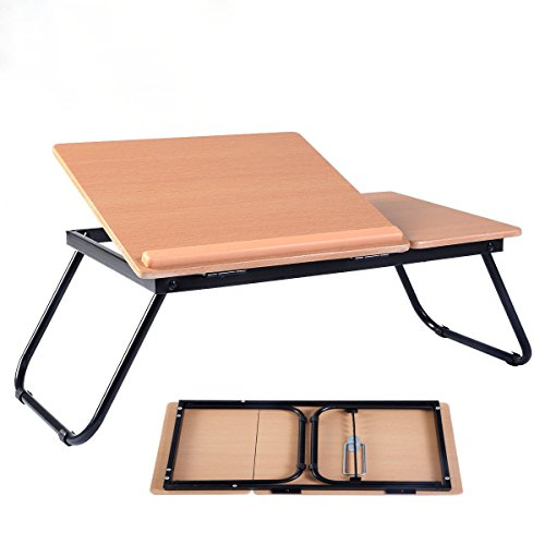 Portable Laptop Desk Notebook Computer Tray Folding Table Stand Sofa Bed New, Heavy duty MDF Wood Board with 0.35'' thickness (Mdf Oak Table)