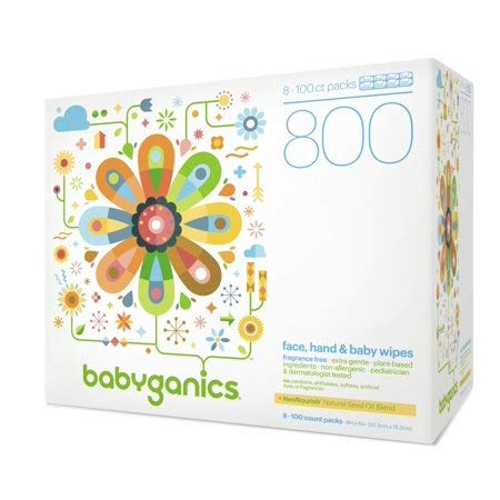 Face, Hand & Baby Wipes, Fragrance Free (800 Count), 100% Natural NeoNourish Seed Oil Blend