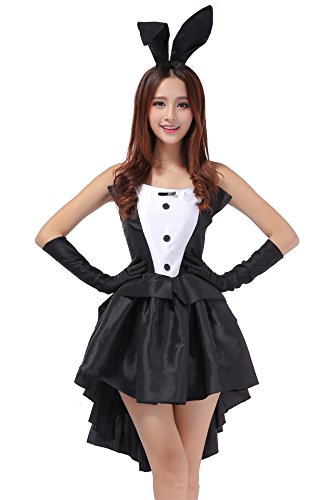 TeeNoke Women Girl Cosplay Costume Dress Bunny Tux Tail with Ear Headband (M)]()