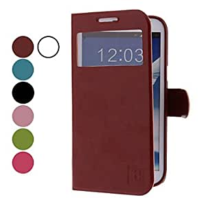 GHK - MOVSOINA PU Leather Case with Viewable Screen for Samsung Galaxy Note 2 N7100 (Assorted Colors) , Rose