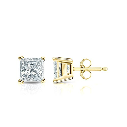 Pc100 Natural - 14k Yellow Gold Princess-cut Diamond Stud Earrings 4-Prong Basket(1 ct,Excellent Quality)