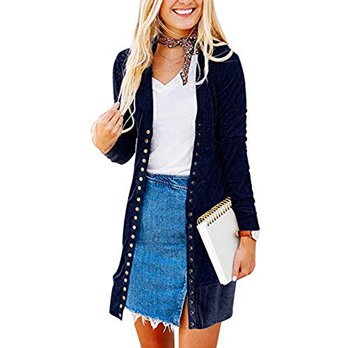 Cardigans,Women's Long Sleeve Snap Button Down Solid Knit Jacket Ribbed Neckline Coats(Navy,XL)