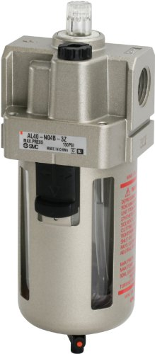 SMC AL40-N04-3Z Lubricator, Polycarbonate Bowl with Drain Cock, 135 mL Oil Capacity, 50 L/min Dripping Flow Rate, 1/2'' NPT by SMC