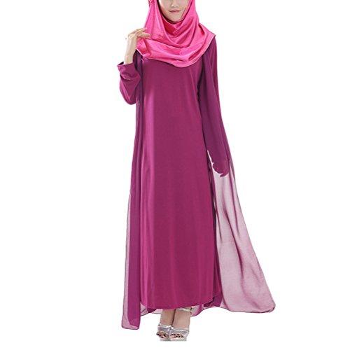 トランスペアレント足枷藤色Zhhlinyuan Muslims Style Robes Dress Arab Women Ladies Chiffon Long ドレス Long Sleeves