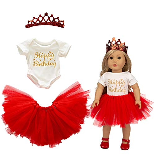 Livoty Doll Clothes for 18 inch Dolls Cute Tutu Skirt T-Shirt Headdress Happy Birthday Clothes Set Girl Toy 18 inch Doll Accessory Gril's Gift (Red) ()