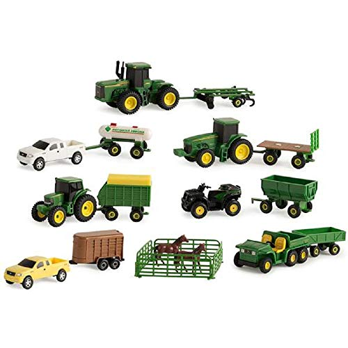 John Deere ERTL 20-Piece Miniature Farm Toy Set, Scale: 1:64, 18