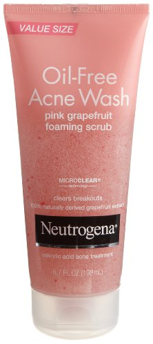 Neutrogena Oil-Free Acne Wash Scrub, Pink Grapefruit, Value Size, 6.7 Ounce