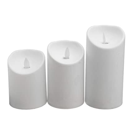 LED Candle 3pcs Set Luminara Ivory Flameless Moving Wick With Remote Timer Simulation Lamp Party