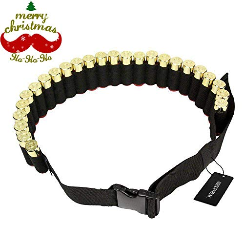 "AIRSOFTPEAK 55""x2"" Airsoft Hunting Tactical Shotgun Shotshell Bandolier Belt 25 Ammo Holder Shells 807/12GA/20GA"