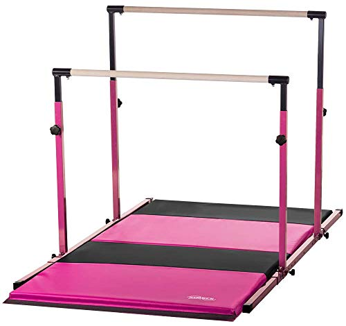 Nimble Sports Pink Parallel Bars with Pink and Black Folding Mat Combo