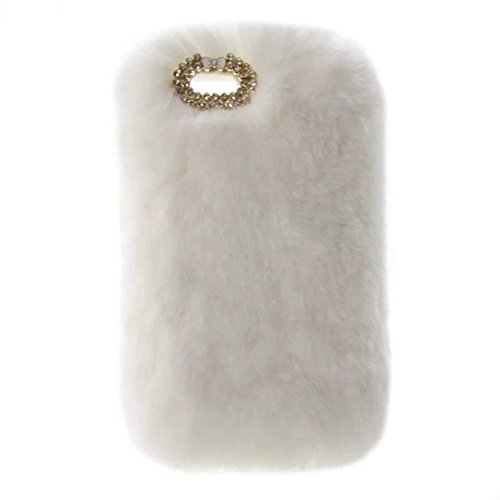 Case for BlackBerry Q20, Super Deluxe Luxury Faux Rabbit Fur Fuzzy Plush Beaver Rex Rabbit Hair Case for BlackBerry Classic Q20(Bowknot White)
