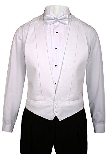 Pique Tuxedo Shirts (Guytalk Mens White Pique Tuxedo Vest Fit All (S-XL)