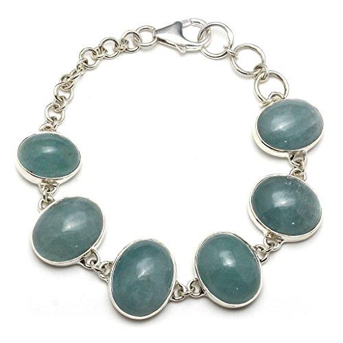 Mystic Silver - Bracelet Femme Aigue-marine naturele, en argent sterling 925/1000 et Longueur: 20cm, 27g