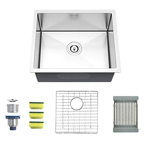 MENSARJOR Undermount Single Bowl 22'' x 18'' x 10'' Kitchen Sink SUS304 16 Gauge Stainless Steel Sink, Brushed Finish Bar or Prep Kitchen Sink -