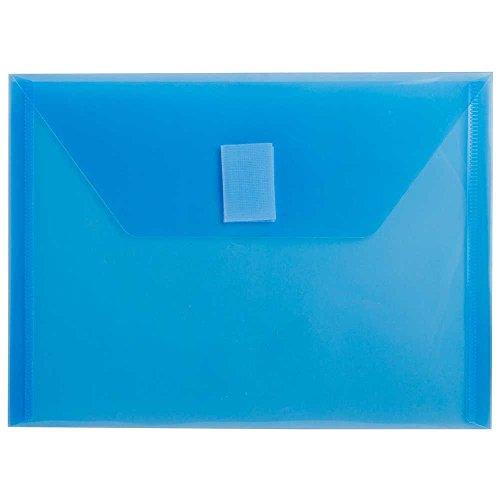Envelope Closure Velcro (JAM PAPER Plastic Envelopes with Hook & Loop Closure - Index - 5 1/2 x 7 1/2 - Blue - 12/Pack)