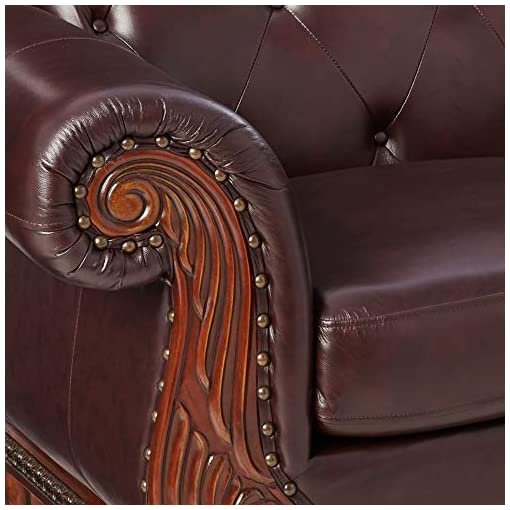 Farmhouse Living Room Furniture ACME Top Grain Leather Loveseat, Dark Brown Leather farmhouse sofas and couches