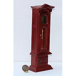 Dollhouse Miniature Working Grandfather Clock in Mahogany Wood
