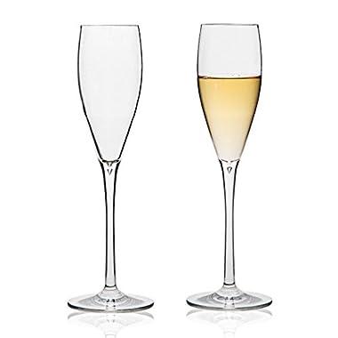 MICHLEY Unbreakable Champagne Flutes Glasses, 100% Tritan Shatterproof Wine Glasses, BPA-free, Dishwasher-safe 5.3 oz, Set of 2