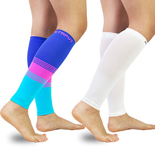 Compression Calf Sleeves (20-30mmHg) for Men & Women- Leg Compression Socks for Shin Splint,Running,Medical, Travel, Nursing (Colourful+White, Medium)