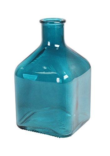 Flowersea Flower Bud Vase, Floral Glass Vase, Alva Stylish Decorative Rectangle Shape Flower Glass Vase (Small, Cadet Blue)