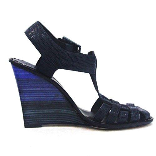 Cojín con forma de cuña en el talón Juicy Couture y pedrería para mujer Tejido de cuero, estándar del Reino Unido 4, de £140 negro - azul