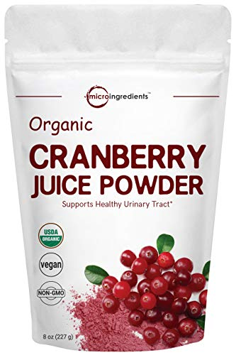 Sustainably US Grown, Organic Cranberry Juice Powder, 8 Ounce, Enhance Urinary Tract Cleanse, Bladder and Prostate Health, Natural Flavor for Smoothie and Beverage Blend, Vegan Friendly