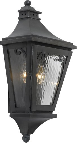Elk 5715-C 10 by 20-Inch Camden Water Glass 2-Light Outdoor Wall Lantern, Charcoal Finish