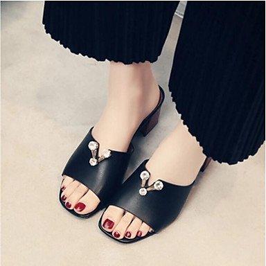 RUGAI-UE Moda de Verano Mujer sandalias casuales zapatos de tacones PU Confort,Blanca,US8 / UE39 / UK6 / CN39 Black