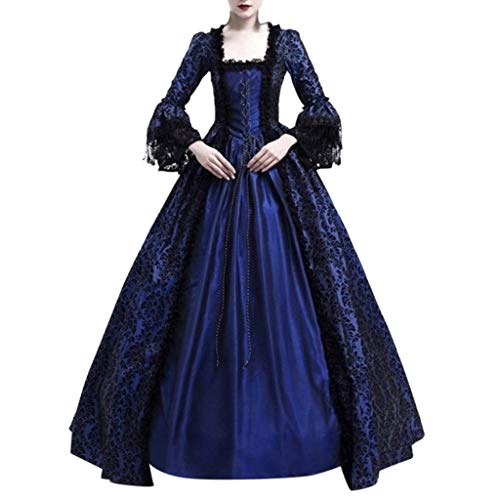 Fauean Medieval Dress,Women Floor Length Vintage Cosplay Retro Long Dress