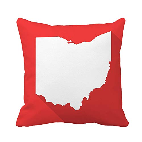 Awowee Throw Pillow Cover Ohio White Map Border Flat Simple Long Shadow 20x20 Inches Pillowcase Home Decorative Square Pillow Case Cushion Cover (Patio Rooms Cincinnati Ohio)