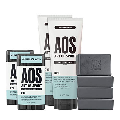 Art of Sport Athlete Collection, Rise Scent, 8pc Skin and Body Care Set with Antiperspirant Deodorant, Body Wash, and Body Bar Soap from Art of Sport