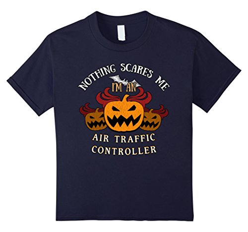 [Kids Nothing Scares Me I'm Air Traffic Controller Tee 12 Navy] (Traffic Controller Costume)