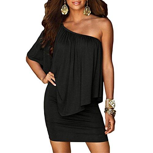 Price comparison product image JIANGTAOLANG Slash Neck Women Mini Dress New Summer Style Off Shoulder Sexy Black White Beach Dresses
